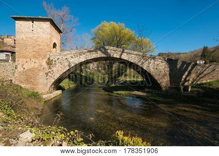 The medieval St. Francis' bridge in Subiaco, Lazio, Italy