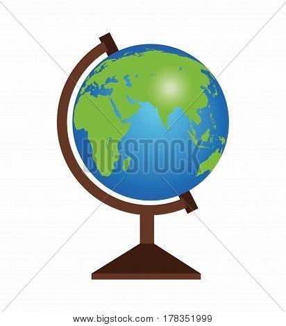 Globe is insulated on white background. School globe Illustration