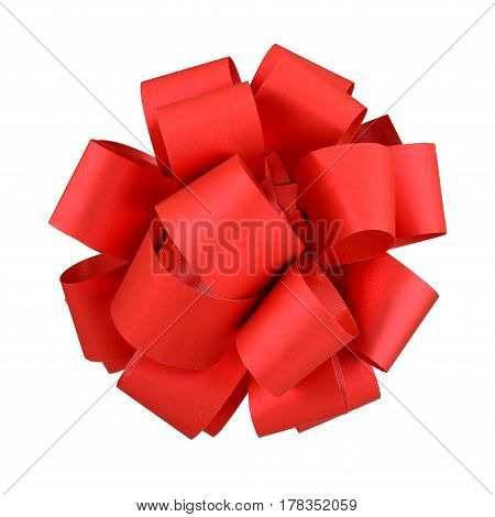 Red bow isolated on white background with clipping path