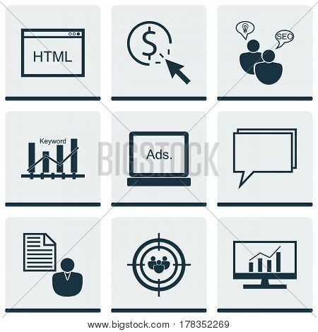 Set Of 9 Marketing Icons. Includes Coding, Market Research, Conference And Other Symbols. Beautiful Design Elements.