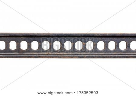 metal gear abstract - a detail of high lift jack steel bar isolated on white