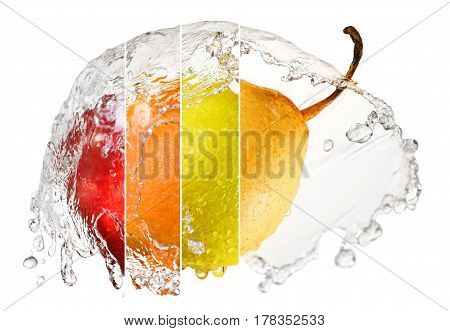 Collage with fruits: pear lemon orange apple in splash of water isolated on white background