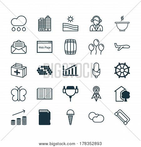 Set Of 25 Universal Editable Icons. Can Be Used For Web, Mobile And App Design. Includes Elements Such As Boat Helm, Hive Pattern, Bowl And More.