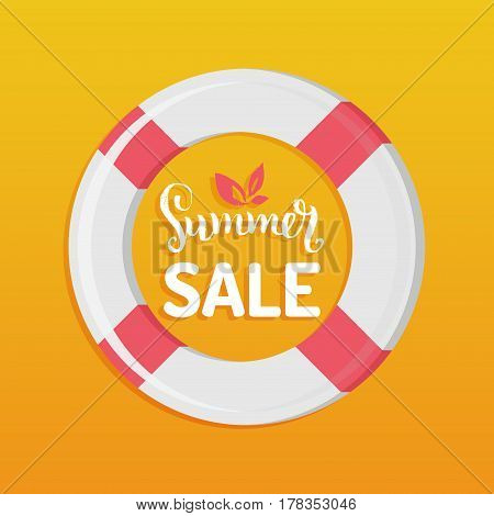 Summer sale vector background. Season discount with lifebuoy illustration. Special offer hand lettering poster