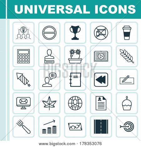 Set Of 25 Universal Editable Icons. Can Be Used For Web, Mobile And App Design. Includes Elements Such As Tournament, Floweret, Taped Book And More.