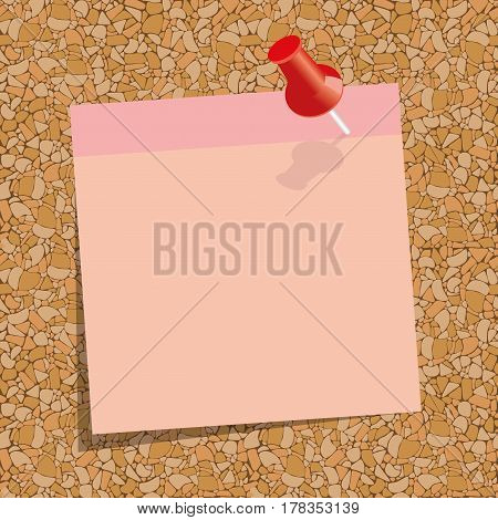 pink sticky note with a red push-pin  against the background of cork board