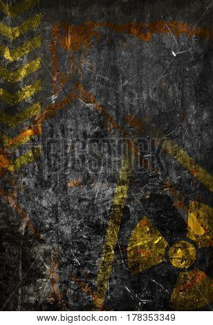 Old grunge distressed black metal plate with radiation warning symbol template