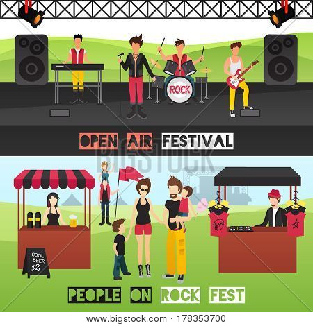 Open air festival horizontal banners set with musicians on performance venue drinks souvenir stall and visitors vector illustration