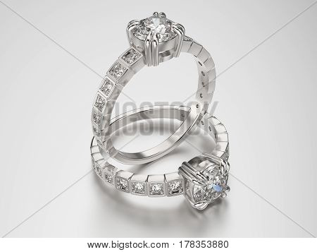 3D illustration two gold silver rings with diamonds on a grey background