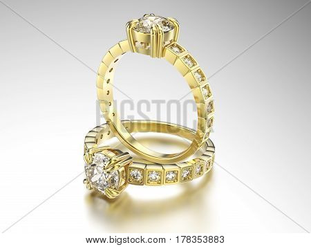 3D illustration two gold rings with diamonds on a grey background