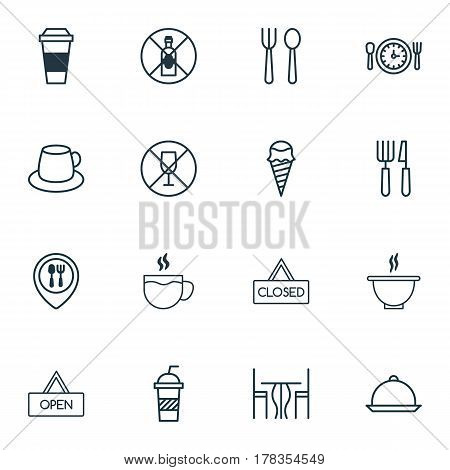 Set Of 16 Cafe Icons. Includes No Drinking, Alcohol Forbid, Eating House And Other Symbols. Beautiful Design Elements.