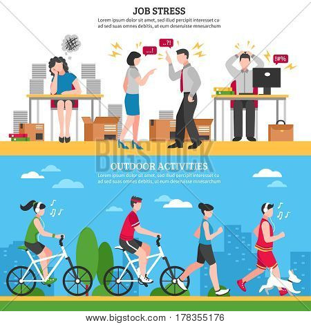 Job stress and ourdoor ways of relaxion horizontal banners set flat isolated vector illustration