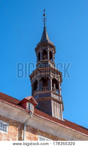 Narva. Estonia. Spire of the ancient city hall. It was built on the initiative of the Swedish royal court in the 17th century.