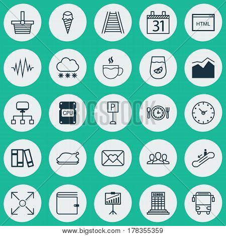 Set Of 25 Universal Editable Icons. Can Be Used For Web, Mobile And App Design. Includes Elements Such As Roadsign, Railroad, Report Demonstration And More.