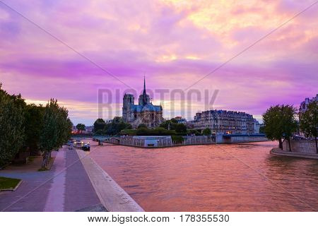 Notre Dame cathedral in Paris sunset from Seine river in France