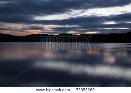 Squam Lake, New Hampshire, just after the sun has set behind the mountains