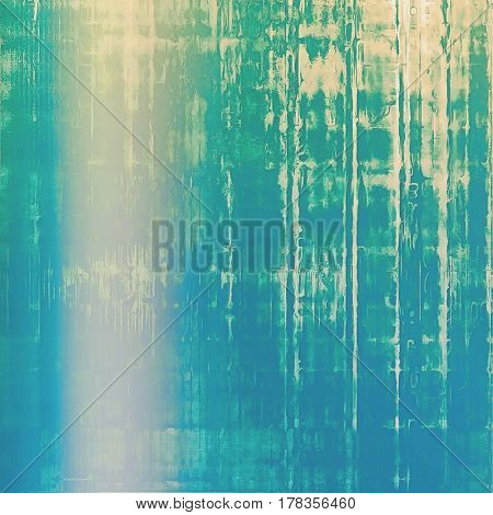 Old, grunge background or damaged texture in retro style. With different color patterns: yellow (beige); green; blue; cyan