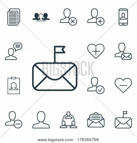 Set Of 16 Communication Icons. Includes Privacy Information, Ban Person, Talking Person And Other Symbols. Beautiful Design Elements.