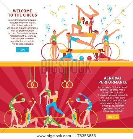 Horizontal flat banners with performance of circus acrobats with hoops balls maces rings isolated vector illustration