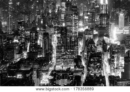 Aerial view of Shanghai city center at evening time. China.