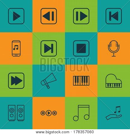 Set Of 16 Multimedia Icons. Includes Bullhorn, Note Donate, Last Song And Other Symbols. Beautiful Design Elements.
