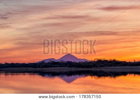 Croagh Patrick, County Mayo, Ireland - The famous holy mountain, Croagh Patrick, as seen from nearby town, Castlebar