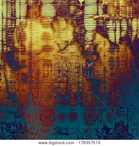 Damaged retro texture with grunge style elements and different color patterns: yellow (beige); brown; blue; red (orange); purple (violet); pink