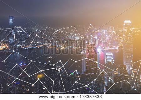 Modern technologies for connection aerial urban cityscape