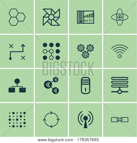 Set Of 16 Machine Learning Icons. Includes Information Components, Atomic Cpu, Recurring Program And Other Symbols. Beautiful Design Elements.