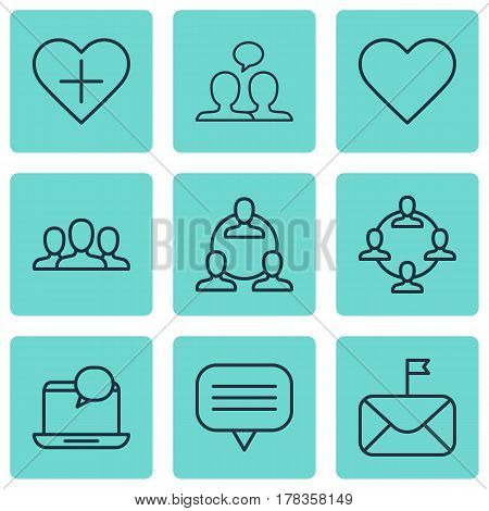 Set Of 9 Social Network Icons. Includes Mail Notification, Conversation, Team Organisation And Other Symbols. Beautiful Design Elements.