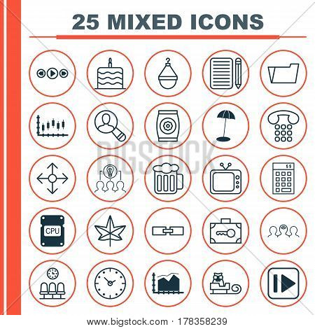 Set Of 25 Universal Editable Icons. Can Be Used For Web, Mobile And App Design. Includes Elements Such As Cpu, Related Information, Time And More.