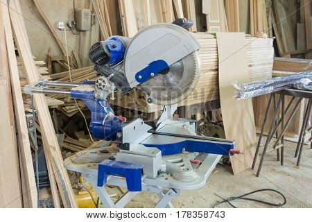 Tools In The Carpentry Workshop: Electric Circular Saw.