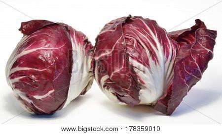 Healthy radicchio salad isolated on white background
