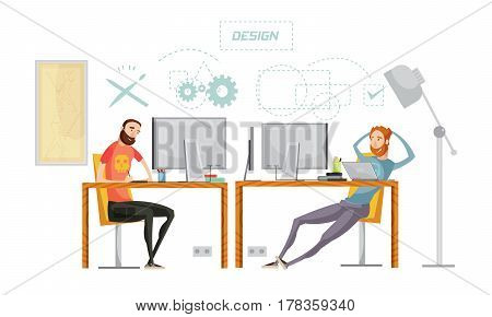 Game development set of flat characters at the table in office interior with conceptual thought signs vector illustration