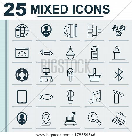 Set Of 25 Universal Editable Icons. Can Be Used For Web, Mobile And App Design. Includes Elements Such As Crossroad, Flight Basket, Pinpoint And More.