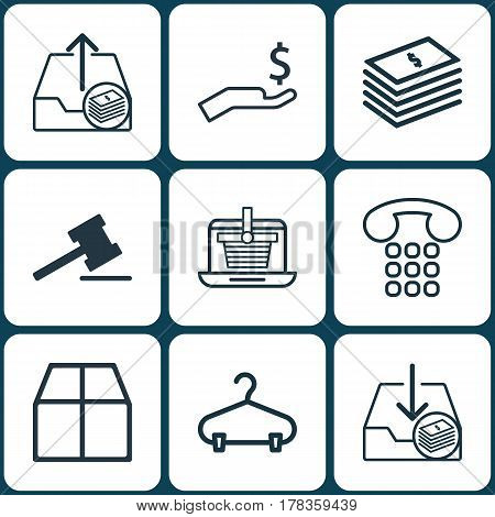 Set Of 9 E-Commerce Icons. Includes E-Trade, Peg, Gavel And Other Symbols. Beautiful Design Elements.