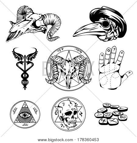 Set of esoteric symbols and occult attributes in sketch design with human goat and crow skulls all seeing eye and palm flat vector illustration