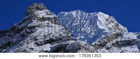 Glacier covered peak of mount Lobuche East. Mountain in the Mount Everest National Park Nepal.