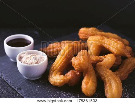 Traditional Spanish And Mexican Dessert Churros With Hot Chocolate