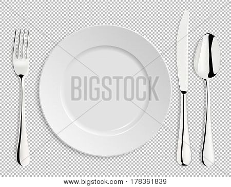 Realistic empty vector plate with spoon, knife and fork isolated. Design template, EPS10 illustration.