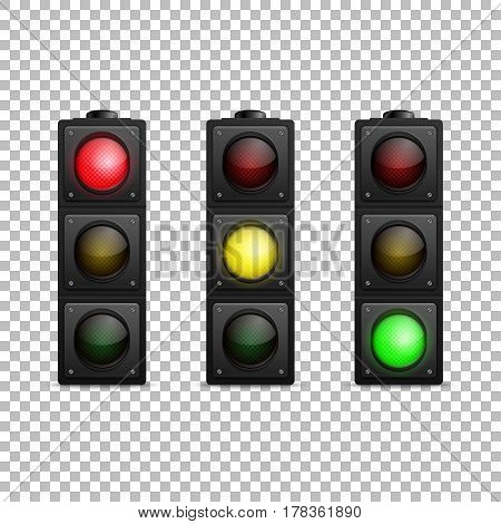 Vector realistic traffic light set. Isolated. Led backlight. Red, yellow and green color. Design template, EPS10 illustration.
