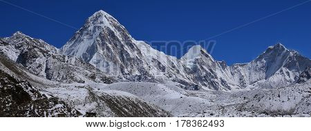 Majestic mount Pumori. High mountain in the Everest National Park Nepal.