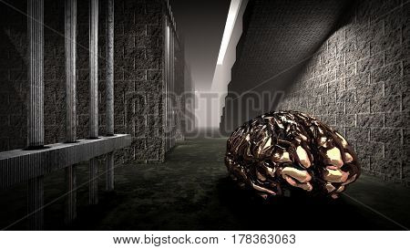 The mind of monster inside prison cell 3d rendering