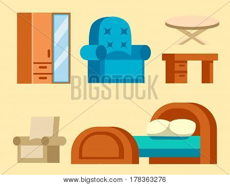 Sofa isolated home seat. Style interior comfortable sofa isolated fashion texture decor. Wardrobe, cupboard vector furniture icon. Bed vector house information bedtime modern