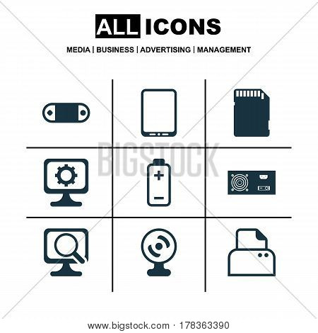 Set Of 9 Computer Hardware Icons. Includes File Scanner, Power Generator, Web Camera And Other Symbols. Beautiful Design Elements.