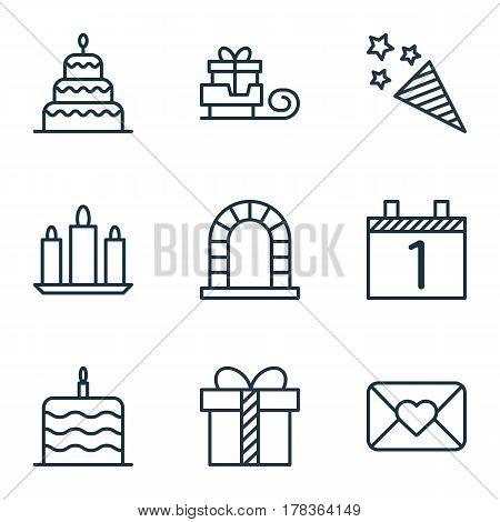 Set Of 9 Christmas Icons. Includes Celebration Cake, Toboggan, Celebration Letter And Other Symbols. Beautiful Design Elements.