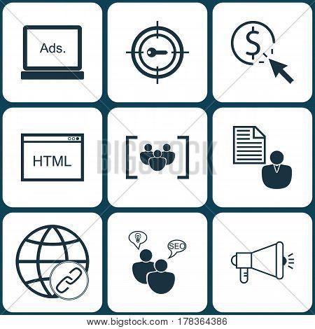 Set Of 9 Marketing Icons. Includes Keyword Marketing, PPC, Coding And Other Symbols. Beautiful Design Elements.