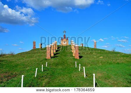 Biled village Romania Way of the Cross or Calvary Mound monument landmark