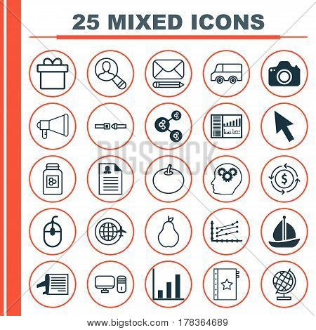 Set Of 25 Universal Editable Icons. Can Be Used For Web, Mobile And App Design. Includes Elements Such As Lorry, Timetable, Algorithm Illustration And More.
