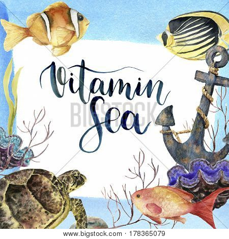Watercolor tropic sea card with lettering Vitamin Sea. Hand painted tropic fish, old anchor, sea anemones, seaweeds, coral isolated on white background. Underwater illustration